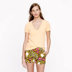 J. CREW Vintage Cotton V-Neck Tee Yellow M EUC